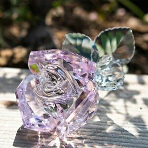 Crystal Pink Rose Flower For Crystal Anniversary Great Forever Love Gifts Decors