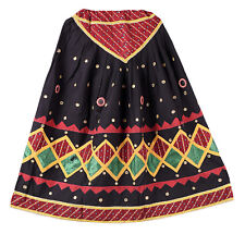 Vintage Indian Mirror Embroidered Women Skater Long Skirt Indian Banjara Skirts