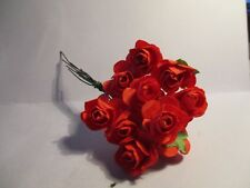 24 X MULBERRY PAPER ROSES 1.5 cm RED