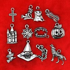 Tibetan Silver Halloween Theme Pumpkin Witch Spider Ghost Bat Charms Pendants