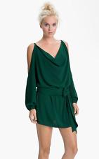 Haute Hippie Kelly Green Split Shoulder Mini Dress With Belt  $395.00 Size M