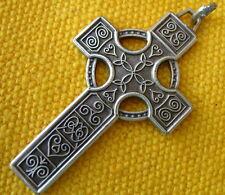 OLD SILVERED METAL CELTIC PENDANT CROSS  croix pendentif Celtique colgante cruz