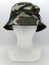 Army Camouflage Bucket Hat Boonie Bush Fishing Summer Adult OSFM 100%Cotton NWT