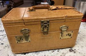 Vintage 50's 60's Gold Train Case Luggage Makeup Steam Trunk Ww2 Era England Mcm