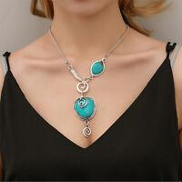 Fashion Women's Tibetan Silver Turquoise Bib Beads Pendant Long Necklace Jewelry