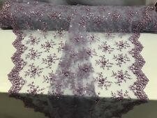 Lace Fabric - Bridal Mesh Lilac With Embroidery Beaded & Sequins By The Yard