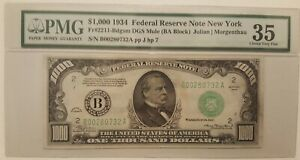 ⭐$1000 Bill⭐ 1934 Federal Reserve NoteOne Thousand Dollars FR-2211-Bdgsm Mule