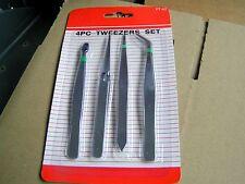 Pinzette Spitzpinzette Set 4     Pinzetten Edelstahl, gerade gebogen