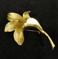 Vintage CORO Brooch Pin COSTUME Jewelry GOLD TONE Signed FLOWER Art Goldtone