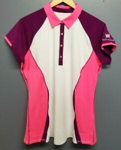 "ANNIKA By CUTTER & BUCK Womens Golf Polo Shirt DriTec ""ROYAL GOLF CLUB"" LRG New"