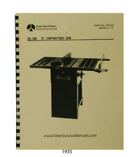 """Rockwell 10"""" Contractors Table Saw 34-348 Operator and Parts Manual #1935"""
