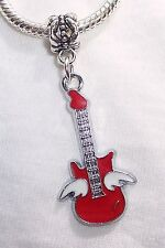 Red Winged Guitar Bass Flying Band Music Dangle Bead for European Charm Bracelet