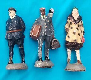 """Vintage Composition Toy Figure Lot Railroad Train Layout 3.5"""" 30's Japan"""