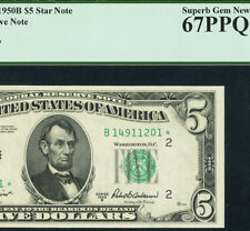 1950B * STAR * $5 FRN PCGS 67 PPQ SUPERB GEM Star Note! Fr. 1963-B*