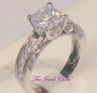 Princess Cut D/VVS1 Diamond Engagement Ring Vintage Estate White Gold Solitaire