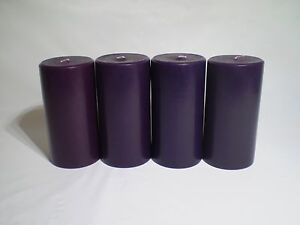 "3""x 6"" Pillar Candle, Aubergine color   UNSCENTED Package of 4 This n That"