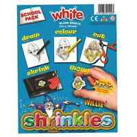 SCHOOL PACK OF 50 SHEETS WHITE SHRINKLES 13cm x 10cm SHRINK ART PLASTIC 1602