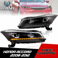 VLAND Headlights Project LED Sequential Indicator For 08-12 Honda Accord 4 Door
