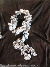 "Shashay Silver Black & Grey Metallic Ruffled  Accent Scarf 100"" Handcrafted"