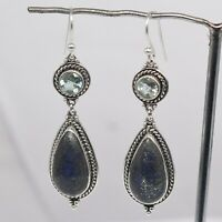 Lapis Lazuli Gemstone 925 Sterling Silver 11.27 gm Silver Earring Jewelry CCI