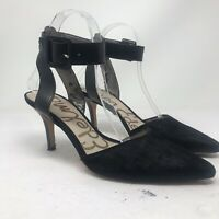 Sam Edelman OKALA Ankle Strap Black Heels Size 7.5 Dyed Calf Hair Pumps 0036