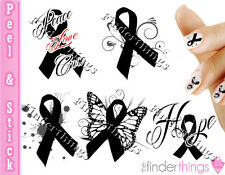 Melanoma Skin Cancer Ribbon Support Nail Art Decal Sticker Set RIB904