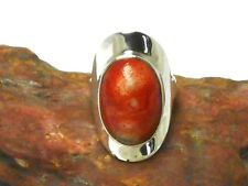 Sponge  CORAL  Sterling  Silver  925  Oval  Ring  -  Size  N
