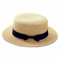 Simple Summer Beach Women Accessories Flat Brim Bowknot Straw Cap Girls Sun Hats