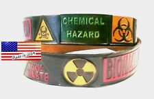 Belt Bio Hazard Chemical Symbols Toxic Waste Black Leather Embossed Made in USA