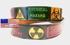 Belt Bio Hazard Chemical Symbols Toxic Waste Black Leather Embossed Made in USA