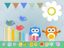 PAINTING ABSTRACT CARNIVAL OWLS BIRDS ART PRINT POSTER MP5049A
