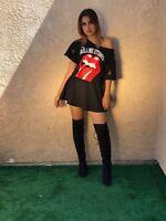Rolling Stones T shirt / Dree Off Shoulder Distressed Classic Tongue Logo Rock B