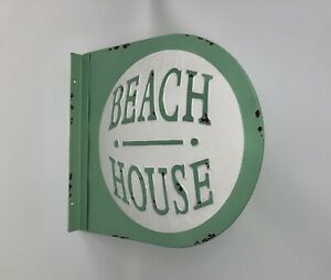 "BEACH HOUSE Sign 14.5"" x 13.25"" Metal Novelty Street Sign Rustic Seafoam Decor"