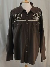 Red Ape, 4X, Brown, Recognized Worldwide Button Front Shirt