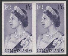 Cook Islands (1863) - 1963 definitive 1s6d Queen Elizabeth IMPERF PAIR unmounted