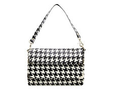 Womens Houndstooth black white Leather evening bag ladies multipocket classic