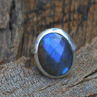 Natural Faceted Blue Fire Labradorite Gemstone 925 Sterling Silver Ring Size 7