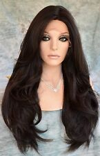 Swiss Lace Front Wig 4X4 Silk Top Handtied Heat Safe Color #4 Long Thick 1230