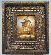 Framed miniature oil painting of colonial battleship in action in ornate frame