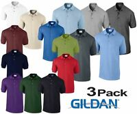 3 Pack Gildan Ultra Cotton Adult Pique Plain Polo Shirt Tee T Shirt Ringspun