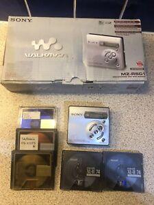 Sony Silver Recordable MiniDisc Walkman MZ-R501 5 Md 74 Disc Bundle Maxell XL-II