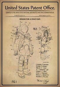 US Patent Raumanzug Space Suit 1973 Blechschild Schild Metal Tin Sign 20 x 30 cm