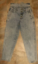 Womens Acid Wash Jeans Mom 28x27 Vintage 80s 90s High Rise Taper Leg
