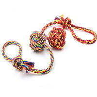 Dog Puppy Pet Chew Toy Knots Large Cotton Striped Rope Strengthen Teeth Ball WL