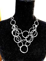 CHICOS Multi Layered Strand Necklace-Silver Tone Hammered Rings