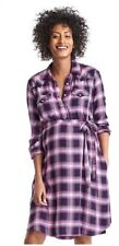 Brand New! Gap Pink Plaid Maternity Tie Belt Shirt Dress Size Small S 4