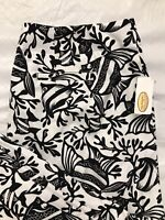 Talbots Cropped Pants Size 10 White Black Tropical Fish Stretch USA Made NWT
