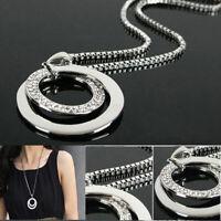 le donne long crystal moda catena collana placcati in argento ciondolo