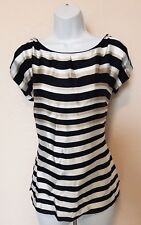 White House Black Market Black White Tan Stripe Open Sleeve Silk Top Size Small