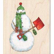 SNOWMAN SHOVELER Rubber Stamp 60-00956 Inkadinkado Christmas Holiday winter NEW!